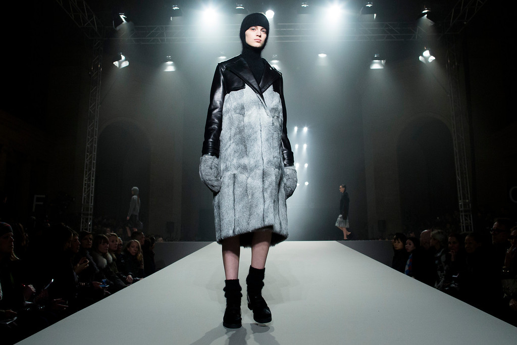 . A model walks the runway during the Alexander Wang Fall 2013 fashion show during Fashion Week, Saturday, Feb. 9, 2013, in New York. (AP Photo/John Minchillo)