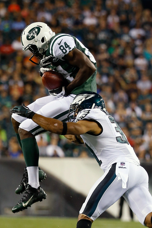 . Stephen Hill, WR, New York Jets Hill, a second-round pick by the Jets in 2012, had 45 receptions with four touchdowns in 23 games for the Jets. After he was released, Hill said he was �disappointed� in general manager John Idzik and coach Rex Ryan for not giving him more of a chance. New York Jets\' Stephen Hill (84) cannot hang onto a pass as Philadelphia Eagles\' Curtis Marsh (31) defends during the first half of an NFL preseason football game, Thursday, Aug. 28, 2014, in Philadelphia. (AP Photo/Chris Szagola)