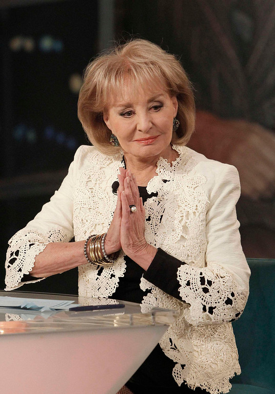 """. Trailblazing broadcast journalist Barbara Walters, 83, announces her upcoming resignation on \""""The View\"""", the all-woman show she created in 1997, in this ABC handout photo taken in New York May 13, 2013. Walters, known for her interviews with world leaders and celebrities and the first woman to co-anchor a U.S. evening news program, said on Monday she will retire in the summer of 2014. REUTERS/Lou Rocco/ABC/Handout via Reuters"""