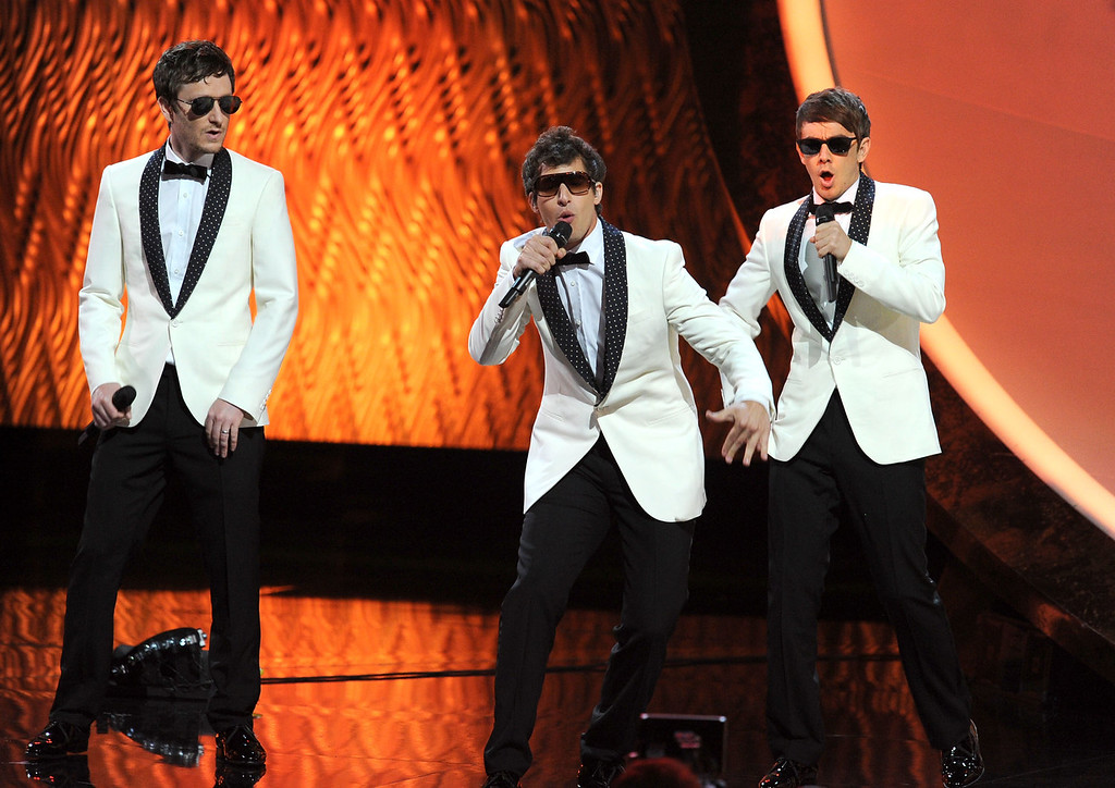 . Singers Akiva Schaffer, Andy Samberg, Jorma Taccone of The Lonely Island perform onstage during the 63rd Annual Primetime Emmy Awards held at Nokia Theatre L.A. LIVE on September 18, 2011 in Los Angeles, California.  (Photo by Kevin Winter/Getty Images)