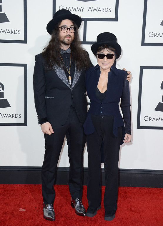 . Sean Lennon, left, and Yoko Ono arrive at the 56th annual Grammy Awards at Staples Center on Sunday, Jan. 26, 2014, in Los Angeles. (Photo by Jordan Strauss/Invision/AP)