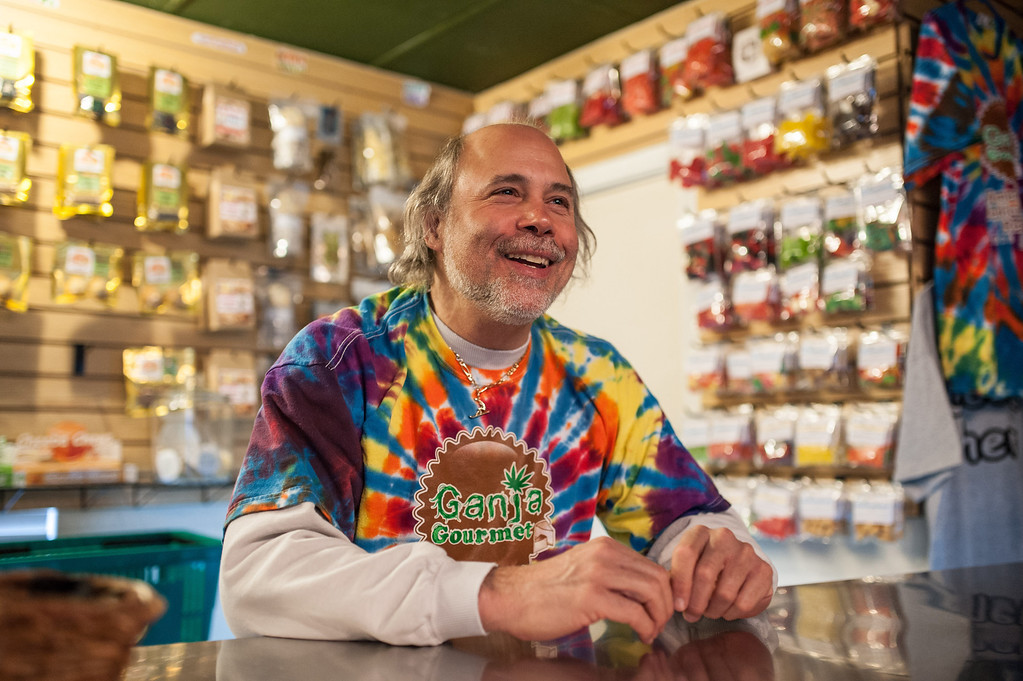 ". ""This is a big week, \"" says Steve Horowitz, owner of Ganja Gourmet in Denver, Colorado, April 17, 2013. \""The phone\'s ringing a lot, with people who want to come to Colorado and pretend they\'re in Amsterdam.\"" (Dustin Bradford/MCT)"