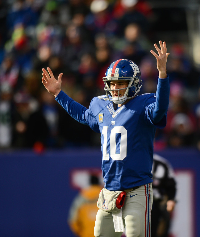 . Quarterback Eli Manning #10  in the 1st half  against the Seattle Seahawks at MetLife Stadium on December 15, 2013 in East Rutherford, New Jersey. (Photo by Ron Antonelli/Getty Images)