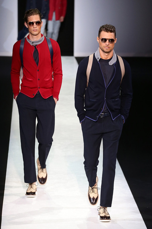 . Models walk the runway at the Giorgio Armani show during Milan Menswear Fashion Week Spring Summer 2014 on June 25, 2013 in Milan, Italy.  (Photo by Vittorio Zunino Celotto/Getty Images)