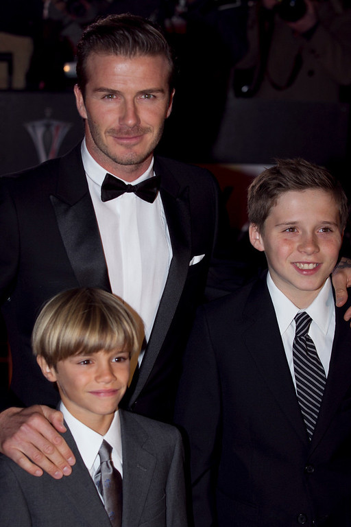". Soccer player David Beckham, top, and his sons Brooklyn, right, and Romeo pose for photographers as they attend ""A Night of Heroes: The Sun Military Awards\"" at the Imperial War Museum in London, Monday, Dec. 19, 2011.  The awards, run by The Sun newspaper, celebrate the bravery of members of the British armed forces and award individuals deemed to have served their country with the highest distinction in the past year.  (AP Photo/Matt Dunham)"