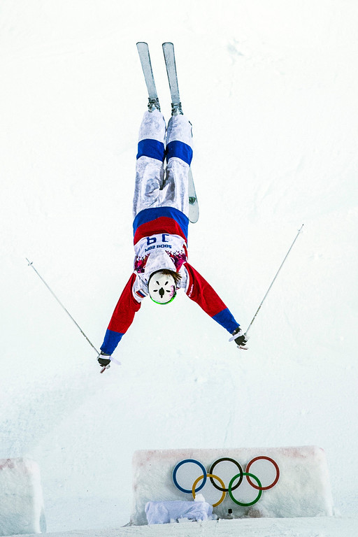 . KRASNAYA POLYANA, RUSSIA  - JANUARY 8: Ekaterina Stolyarova, of Russia, competes in the Ladies\' Moguls Finals at Rosa Khutor Extreme Park during the 2014 Sochi Olympic Games Saturday February 8, 2014. Justine Dufour-Lapointe won gold with a score of 22.44. Her sister Chloe Dufour-Lapointe won the silver with a score of 21.66. Hannah Kearney, of USA, won bronze with a score of 21.49. (Photo by Chris Detrick/The Salt Lake Tribune)