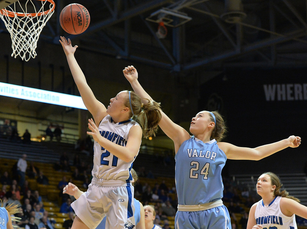 . Broomfield\'s Nicole Lehrer goes to the basket  against Valor Christian\'s Madi Waldon during the final four 4A state game at Coors Event Center. (David R. Jennings/Broomfield Enterprise)