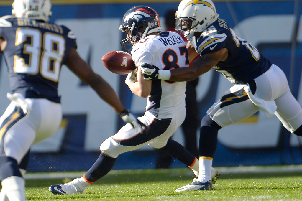. Wide receiver Wes Welker #83 of the Denver Broncos cant find the handle in the first half vs the San Diego Chargers at Qualcomm Stadium November 10, 2013 San Diego, CA. (Photo By Joe Amon/The Denver Post)