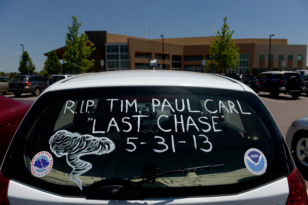 . LITTLETON, CO - JUNE 6: A car parked in the Mission Hills Church parking lot in Littleton, CO on June 6, 2013, pays homage to the three storm chasers who were killed in a tornado in Oklahoma last week.  Memorial services were held for Tim Samaras and his son Paul at Mission Hills Church in Littleton, Co.  The three died, which included colleague Carl Young, while chasing an EF-5  tornado in Oklahoma on May 31, 2013.  This was the second EF-5 tornado to hit Oklahoma in two weeks.  (Photo by Helen H. Richardson/The Denver Post)