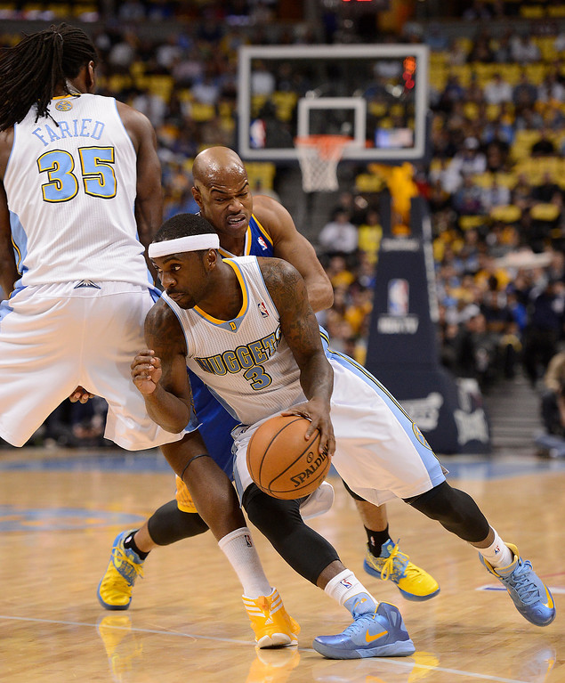 . Denver Nuggets small forward Kenneth Faried (35) sets a pick on Golden State Warriors point guard Jarrett Jack (2) as Denver Nuggets point guard Ty Lawson (3) dribbles past him in the first quarter. The Denver Nuggets took on the Golden State Warriors in Game 5 of the Western Conference First Round Series at the Pepsi Center in Denver, Colo. on April 30, 2013. (Photo by John Leyba/The Denver Post)