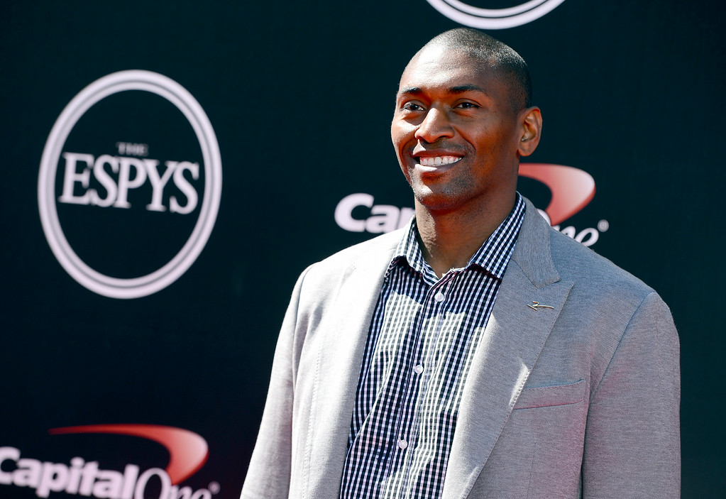 . Former NBA player Metta World Peace arrives at the ESPY Awards at the Nokia Theatre on Wednesday, July 16, 2014, in Los Angeles. (Photo by Jordan Strauss/Invision/AP)