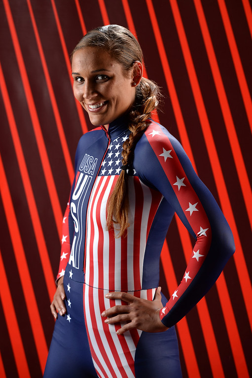 . Bobsledder Lolo Jones poses for a portrait during the USOC Media Summit ahead of the Sochi 2014 Winter Olympics on September 29, 2013 in Park City, Utah.  (Photo by Harry How/Getty Images)