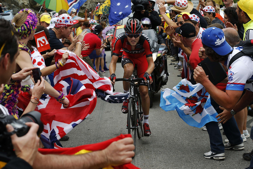 . USA\'s Tejay Van Garderen leads the breakaway during the 172.5 km eighteenth stage of the 100th edition of the Tour de France cycling race on July 18, 2013 between Gap and Alpe-d\'Huez, French Alps. PASCAL GUYOT/AFP/Getty Images