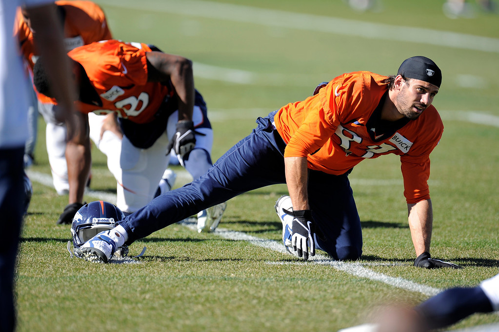 . Denver Broncos wide receiver Eric Decker (87) stretches before practice November 13, 2013 at Dove Valley (Photo by John Leyba/The Denver Post)