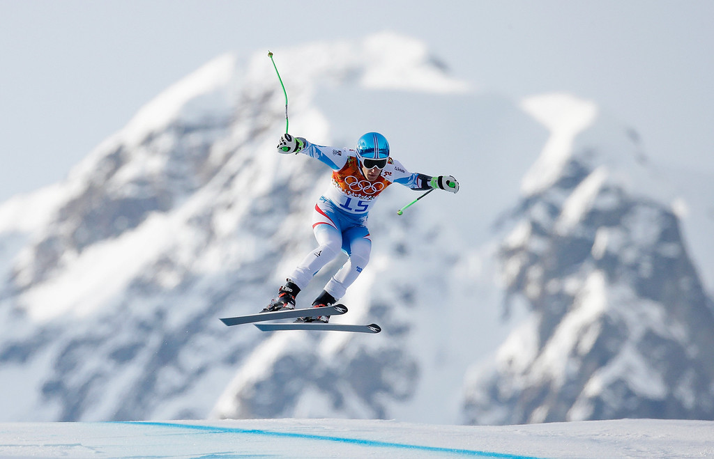 . Otmar Striedinger of Austria skis during the Alpine Skiing Men\'s Super-G on day 9 of the Sochi 2014 Winter Olympics at Rosa Khutor Alpine Center on February 16, 2014 in Sochi, Russia.  (Photo by Ezra Shaw/Getty Images)