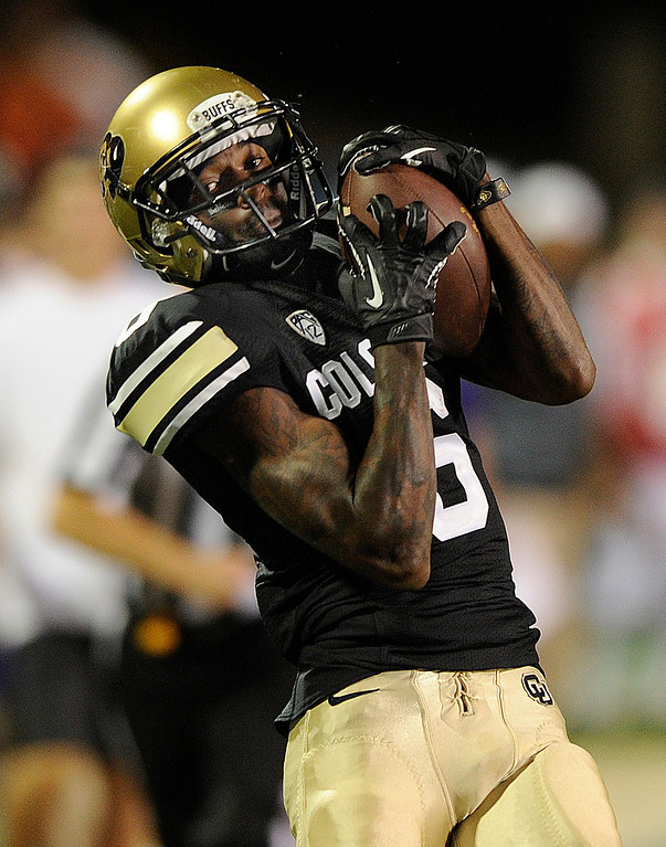 . BOULDER, CO. - SEPTEMBER 76: CU receiver Paul Richardson came down with a Connor Wood pass in the second half. The University of Colorado football team hosted Central Arkansas at Folsom Field Saturday night, September 7, 2013. Photo By Karl Gehring/The Denver Post