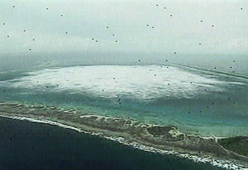. This is an aerial view taken from video provided by the French military of Fangatuafa Atoll in the South Pacific where France set off their sixth and possibility their last nuclear test Saturday, Jan. 27, 1996. The series of nuclear tests have sparked off worldwide condemnation. (AP Photo/French Military)