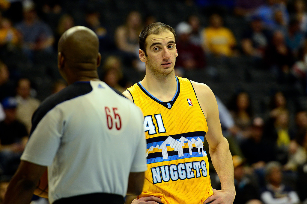 . Denver Nuggets center Kosta Koufos (41) looks at the ref after fouling out during the second half of the Nuggets\' 113-110 win at the Pepsi Center on Monday, December 3, 2012. AAron Ontiveroz, The Denver Post