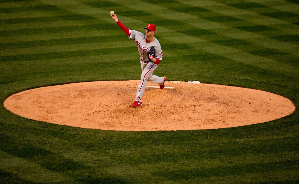 . Starting pitcher Kyle Kendrick #38 of the Philadelphia Phillies delivers to home plate during the first inning against the Colorado Rockies at Coors Field on April 19, 2014 in Denver, Colorado.  (Photo by Justin Edmonds/Getty Images)
