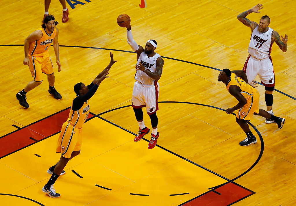 . MIAMI, FL - MAY 30:  LeBron James #6 of the Miami Heat takes a shot against the Indiana Pacers during Game Six of the Eastern Conference Finals of the 2014 NBA Playoffs at American Airlines Arena on May 30, 2014 in Miami, Florida.  (Photo by Chris Trotman/Getty Images)