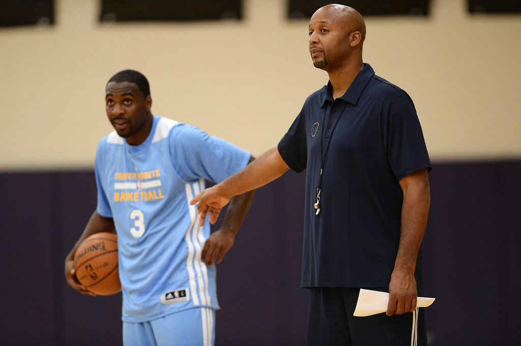 . Ty Lawson of Denver Nuggets (3), left, and head coach Brian Shaw are in the team practice.  (Photo by Hyoung Chang/The Denver Post)