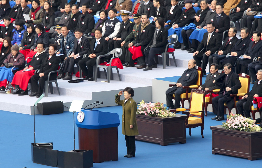 . Park Geun-Hye, South Korea\'s president salutes during her inauguration ceremony in the National Assembly on February 25, 2013 in Seoul, South Korea. Park is sworn in as the first female president of South Korea.  (Photo by Jeon Heon-Kyun-pool/Getty Images)