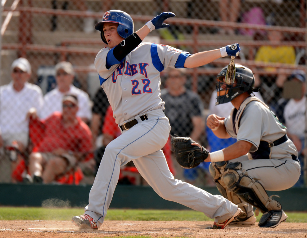 . DENVER, CO. - MAY 24 : Griffin Jax of Cherry Creek High School (22) singles during semifinal round of 5A State Championships baseball game against ThunderRidge High School at All City Field. Denver, Colorado. May 24, 2013. ThunderRidge won 5-1. (Photo By Hyoung Chang/The Denver Post)