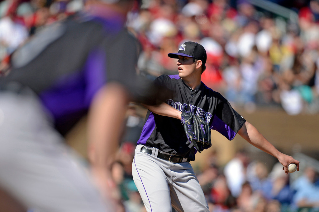 . SCOTTSDALE, AZ. - FEBRUARY 23: Drew Pomeranz (13) of the Colorado Rockies delivers a pitch against the Arizona Diamondbacks in the first inning February 23, 2013 in Scottsdale. (Photo By John Leyba/The Denver Post)