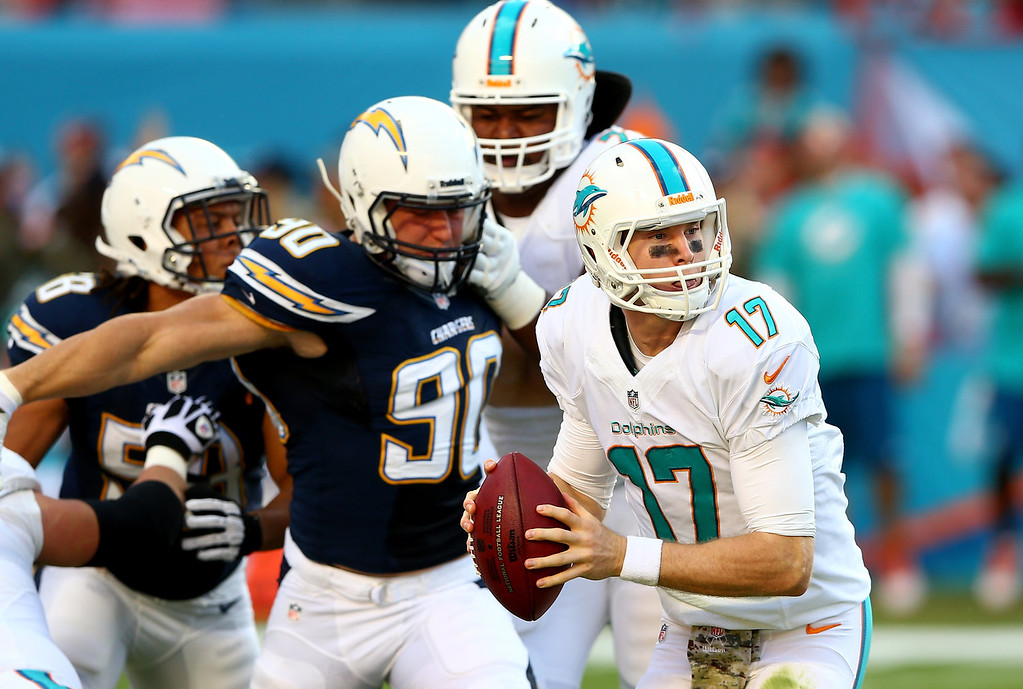 . Ryan Tannehill #17 of the Miami Dolphins runs with the ball during their game against the San Diego Chargers at Sun Life Stadium on November 17, 2013 in Miami Gardens, Florida.  (Photo by Streeter Lecka/Getty Images)