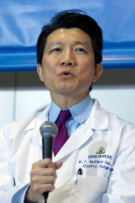 . Johns Hopkins School of Medicine\'s Department of Plastic and Reconstructive Surgery Director W.P. Andrew Lee speaks during a news conference about the double arm transplants performed on U.S. Army Sgt. Brendan Marrocco of Staten Island, New York, who lost his four limbs in a 2009 roadside bomb attack in Iraq, at The Johns Hopkins Hospital in Baltimore, Maryland January 29, 2013. Lee is the head of the team that performed the transplants. REUTERS/Jose Luis Magana
