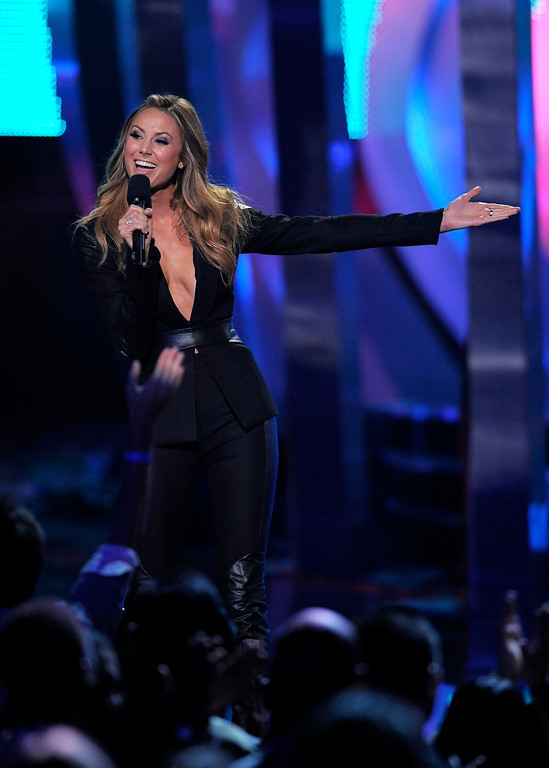 . Stacy Keibler appears on stage at the VH1 Divas on Sunday, Dec. 16, 2012, at the Shrine Auditorium in Los Angeles. (Photo by Chris Pizzello/Invision/AP)
