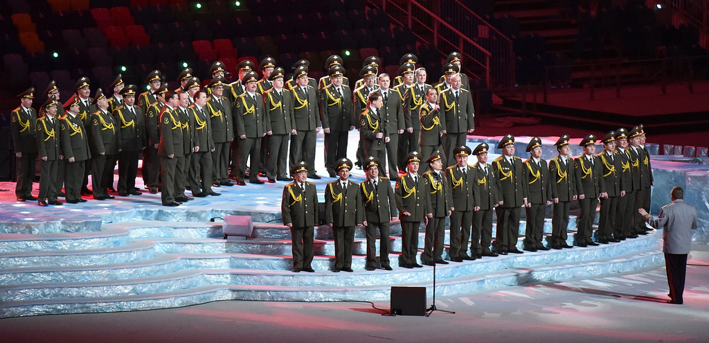 . A military choir performs during the Opening Ceremony of the Sochi Winter Olympics at the Fisht Olympic Stadium on February 7, 2014 in Sochi.  AFP PHOTO / DAMIEN MEYER/AFP/Getty Images