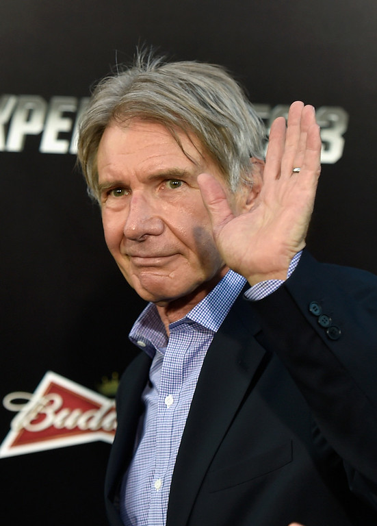 """. Actor Harrison Ford attends Lionsgate Films\' \""""The Expendables 3\"""" premiere at TCL Chinese Theatre on August 11, 2014 in Hollywood, California.  (Photo by Frazer Harrison/Getty Images)"""