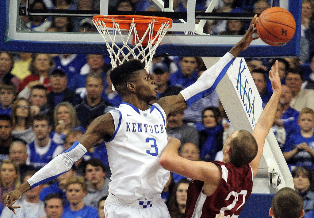 . Kentucky\'s Nerlens Noel (3) blocks the shot of Transylvania\'s Ethan Spurlin during the second half of an NCAA college basketball exhibition game at Rupp Arena in Lexington, Ky, in November, 2012. Noel was picked by the New Orleans Pelicans in the first round of the NBA basketball draft.   AP Photo/James Crisp, File)