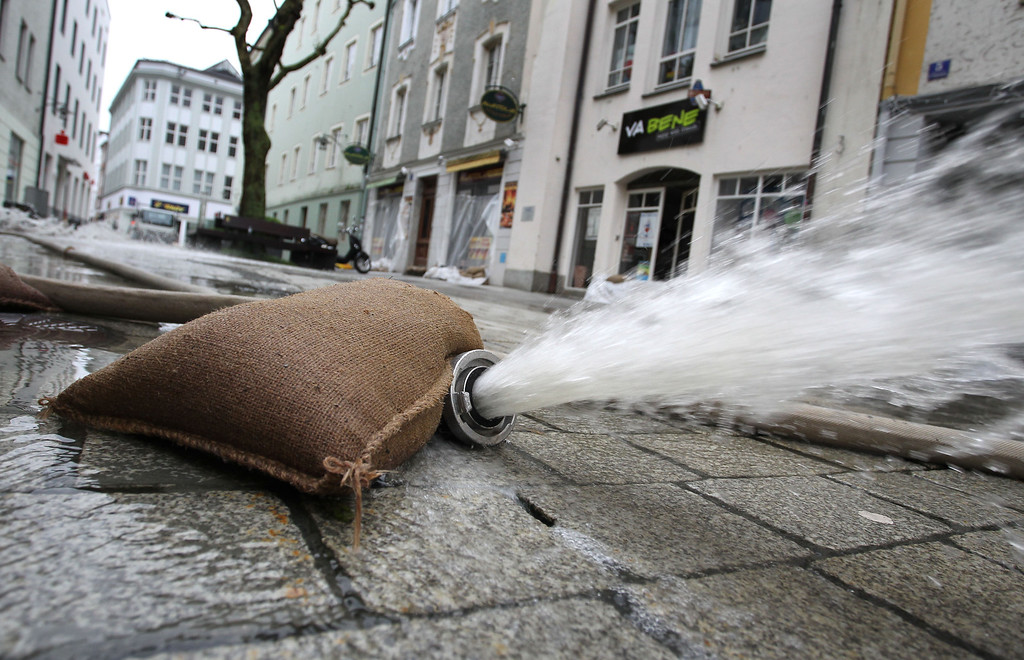 . Water is being pumped out of cellars in the flooded city of Passau, southern Germany, on June 4, 2013. Torrential rain and heavy flooding hit central Europe. KARL-JOSEF HILDENBRAND/AFP/Getty Images
