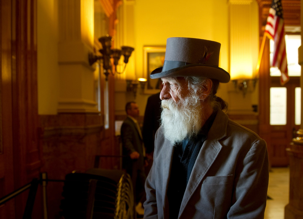 . DENVER,CO. - MARCH 20: 66-year-old Billy McIntyre of Wheat Ridge wore a special hat as he visited  the state capitol  on Wednesday, March 20, 2013.  He came to see Governor John Hickenlooper\'s press conference about the  three gun bills that he signed earlier in the day. McIntyre was looking out the window to see if there were any protesters. McIntyre express concerns about the government trying to be everything to it\'s citizens. (Photo By Cyrus McCrimmon/The Denver Post)