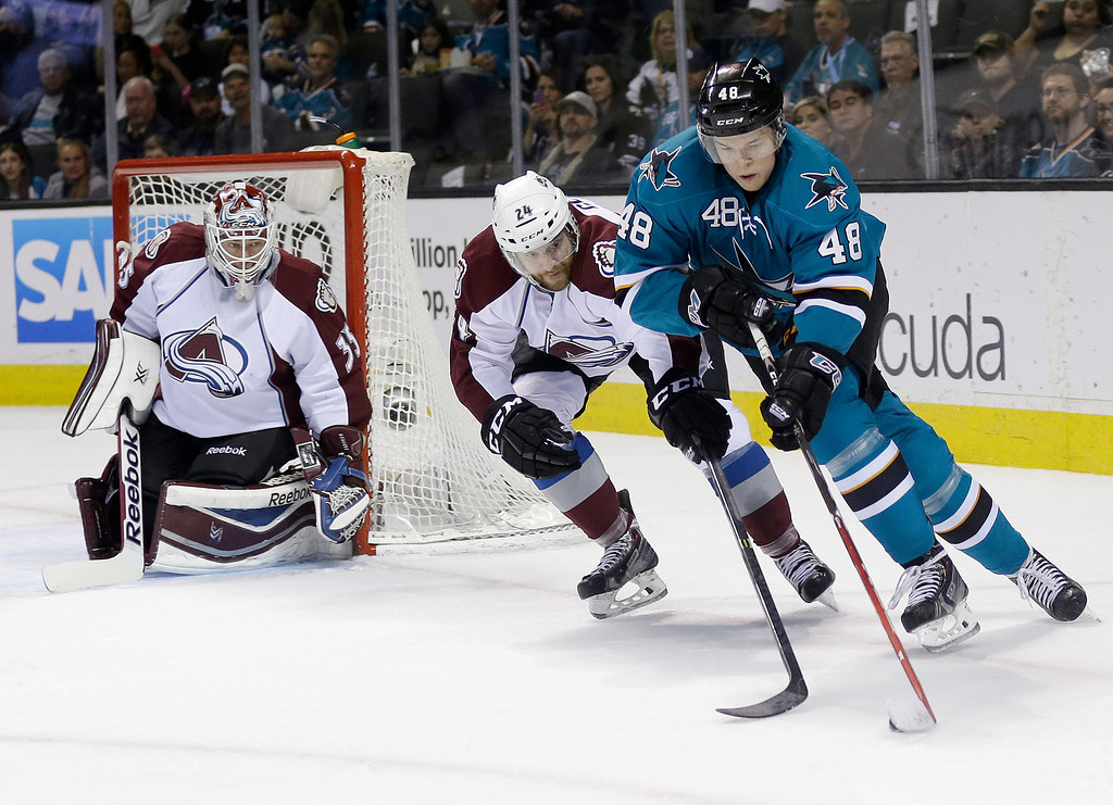 . San Jose Sharks\' Tomas Hertl, right, of the Czech Republic, is defended by Colorado Avalanche\'s Marc-Andre Cliche (24) as goalie Jean-Sebastien Giguere, left, watches during the first period of an NHL hockey game on Friday, April 11, 2014, in San Jose, Calif. (AP Photo/Marcio Jose Sanchez)