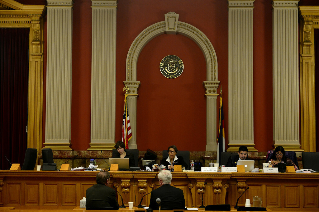 . DENVER, CO - MARCH 4: The Senate Judiciary Committee listens to debates over gun laws at the State Capitol. Four gun bills were up for debate. (Photo by AAron Ontiveroz/The Denver Post)