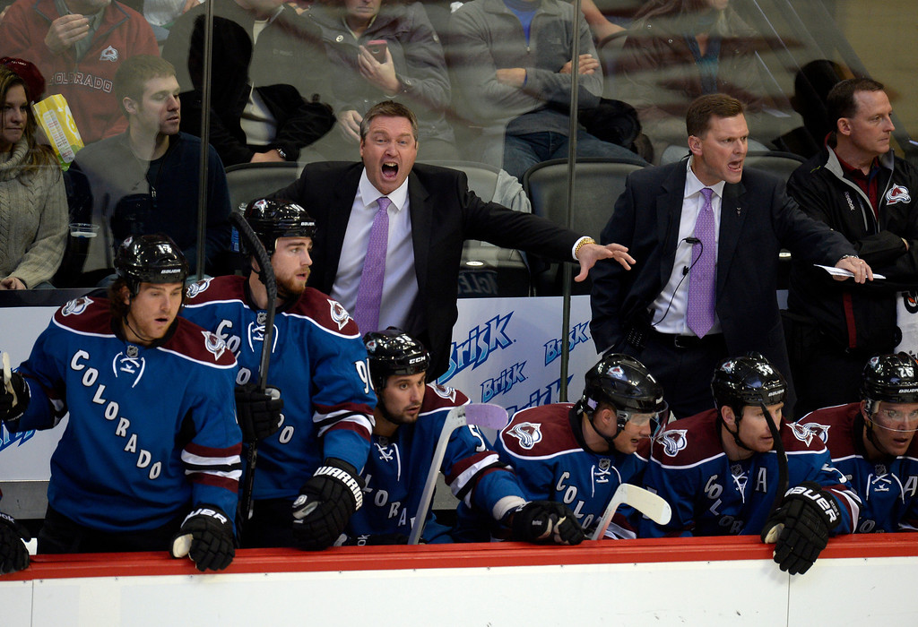 . DENVER, CO - OCTOBER 15: Colorado Avalanche head coach Patrick Roy screams out at the referees during the second period versus the Dallas Stars October 15, 2013 at Pepsi Center.(Photo By John Leyba/The Denver Post)