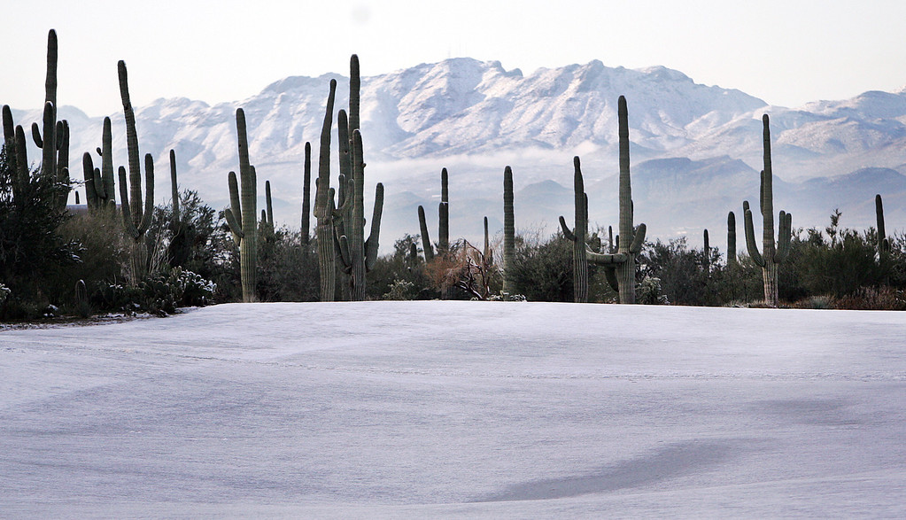 . Snow covers a fairway in the morning hours before before play resumes for the first round of the Match Play Championship golf tournament, Thursday, Feb. 21, 2013, in Marana, Ariz.  A snow storm blanketed the course on Wednesday suspending the first round of play and postponing it until later in the day on Thursday. (AP Photo/Arizona Daily Star,  Mike Christy)