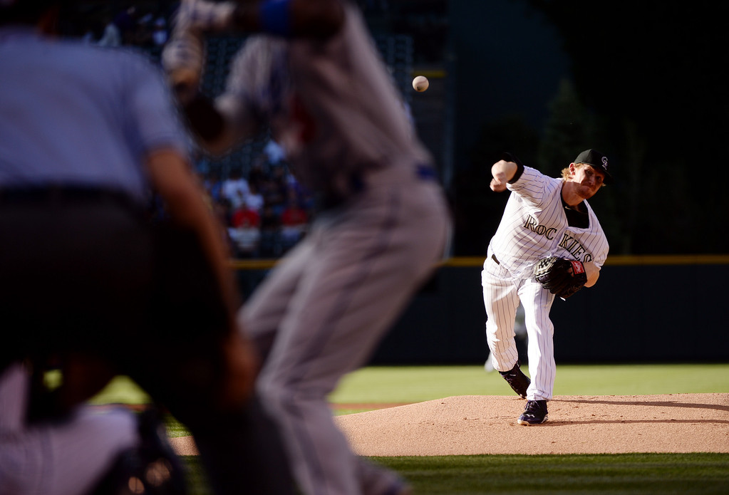 . DENVER JUNE 06: Eddie Butler of Colorado Rockies (31) is pitching against Los Angeles Dodgers at Coors Field in Denver, Colorado June 6, 2014. (Photo by Hyoung Chang/The Denver Post)