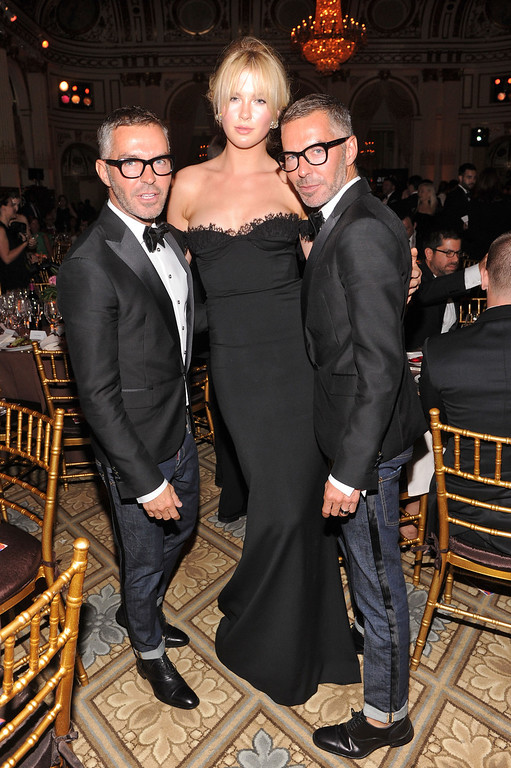 . NEW YORK, NY - JUNE 13:   Ireland Baldwin poses with Dean Caten and Dan Caten of Dsquared2 at the 4th Annual amfAR Inspiration Gala New York at The Plaza Hotel on June 13, 2013 in New York City.  (Photo by Jamie McCarthy/Getty Images)