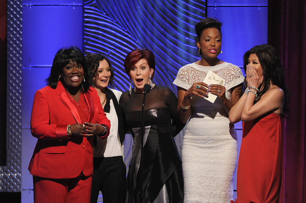 . (L-R) TV personalities Sheryl Underwood, Sara Gilbert, Sharon Osbourne, Aisha Tyler and Julie Chen speak onstage during The 40th Annual Daytime Emmy Awards at The Beverly Hilton Hotel on June 16, 2013 in Beverly Hills, California.  (Photo by Kevin Winter/Getty Images)