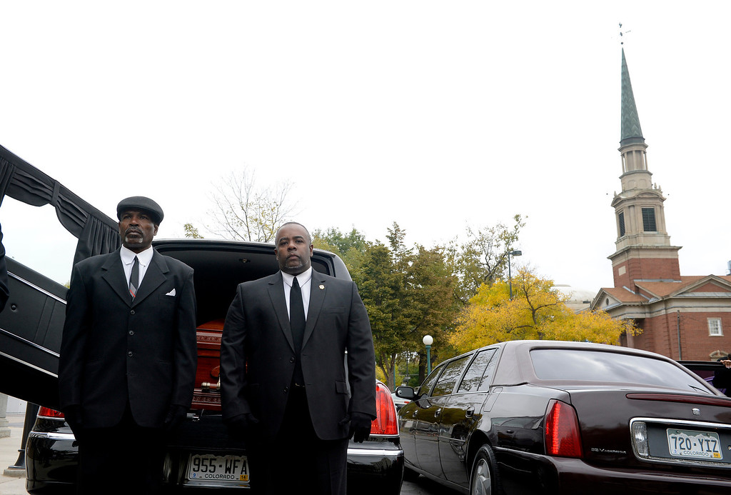 . Pallbearers prepare to carry the casket of former Lt. Gov. Joe Rogers into the state Capitol in Denver, CO October 15, 2013.  (Photo By Craig F. Walker / The Denver Post)