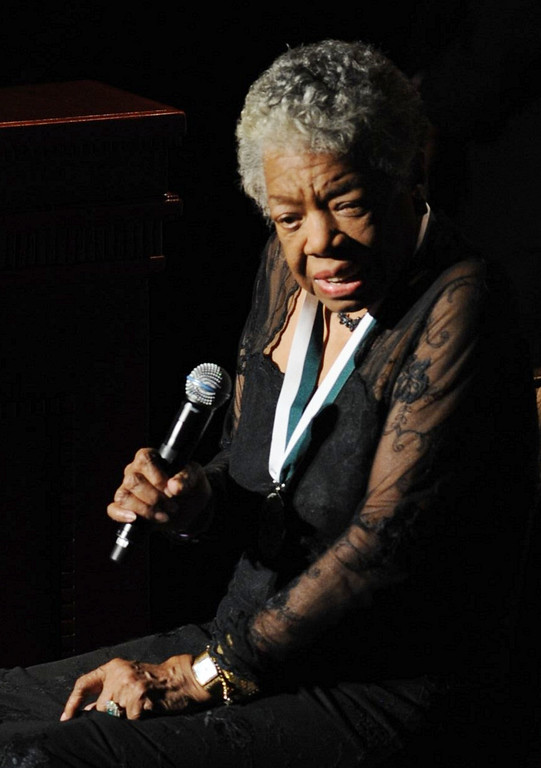 . NEW YORK - OCTOBER 6:  Honoree Dr. Maya Angelou, recipient of the 2009 Buoniconti Fund Humanitarian Award speaks onstage at The 24th Annual Great Sports Legends Dinner benefiting The Buoniconti Fund to Cure Paralysis (national fundraising arm of The Miami Project to Cure Paralysis) at The Waldorf-Astoria on October 6, 2009 in New York, New York. (Photo by Bryan Bedder/Getty Images for The Miami Project) *** Local Caption *** Maya Angelou