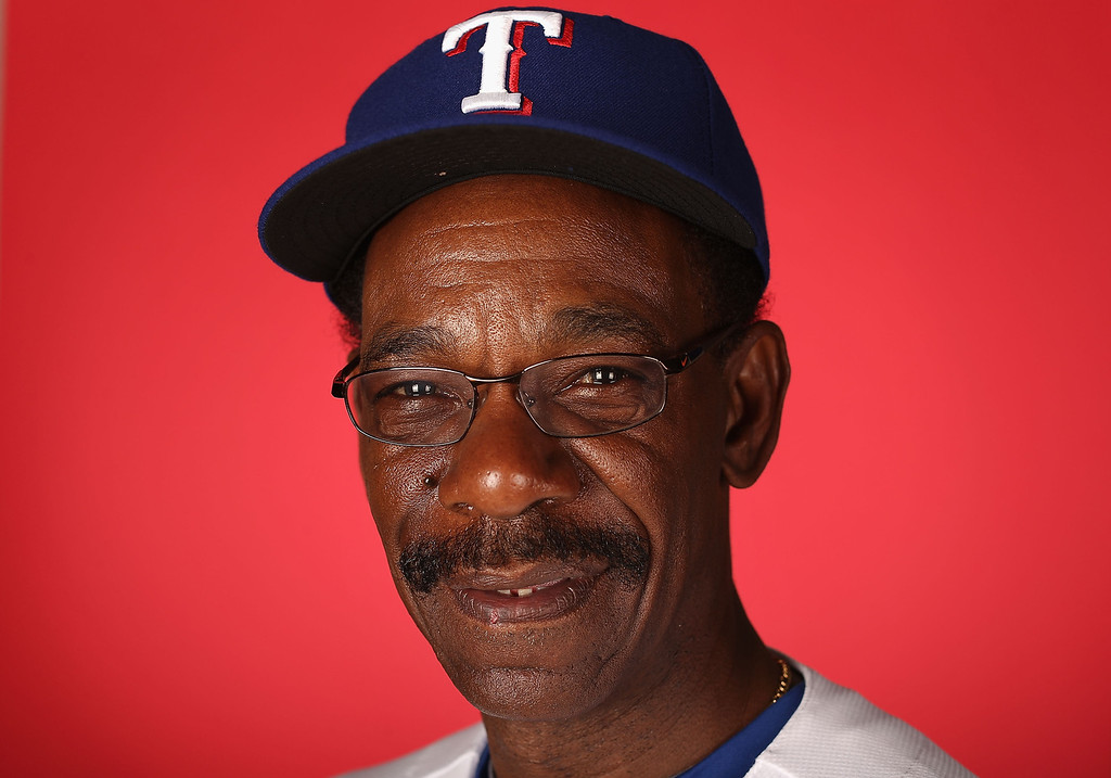 . SURPRISE, AZ - FEBRUARY 20:  Manager Ron Washington #38 of the Texas Rangers poses for a portrait during spring training photo day at Surprise Stadium on February 20, 2013 in Surprise, Arizona.  (Photo by Christian Petersen/Getty Images)