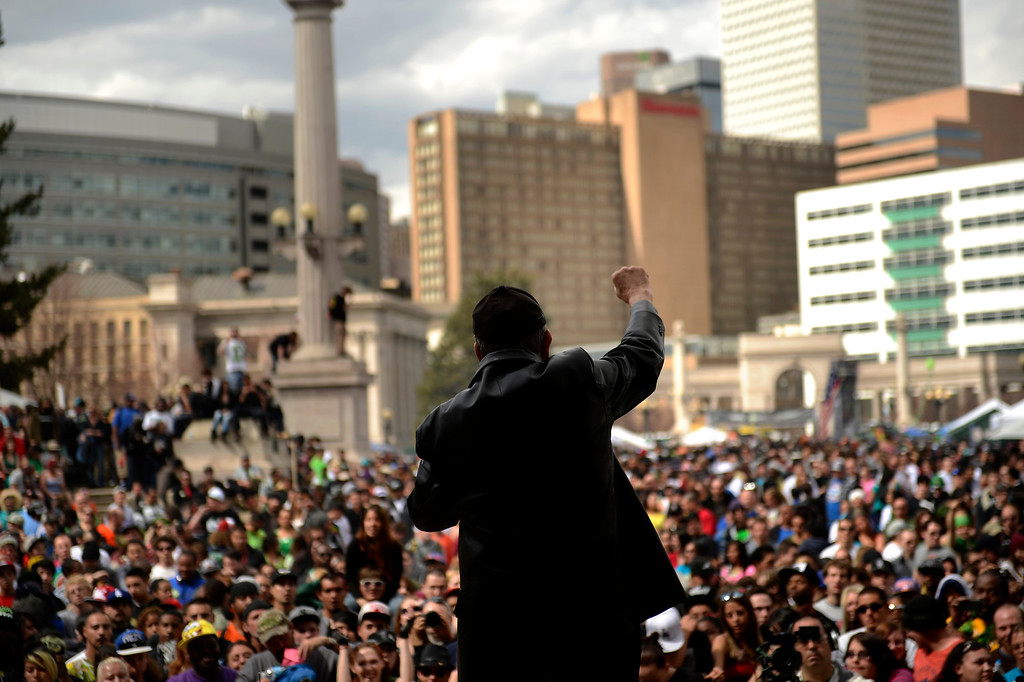 . Poet Len Chernila during the annual 420 Rally at Civic Center Park in downtown Denver April 20, 2013 Denver, Colorado. (Photo By Joe Amon/The Denver Post)