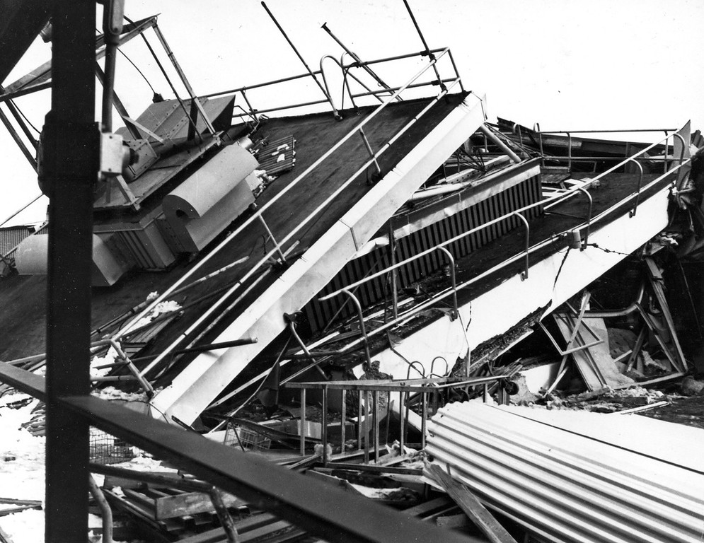 . Alaska Earthquake March 27, 1964. Control tower at Anchorage International Airport, collapsed by earthquake shaking. Photo by Federal Aviation Agency.U.S. Geological Survey photo