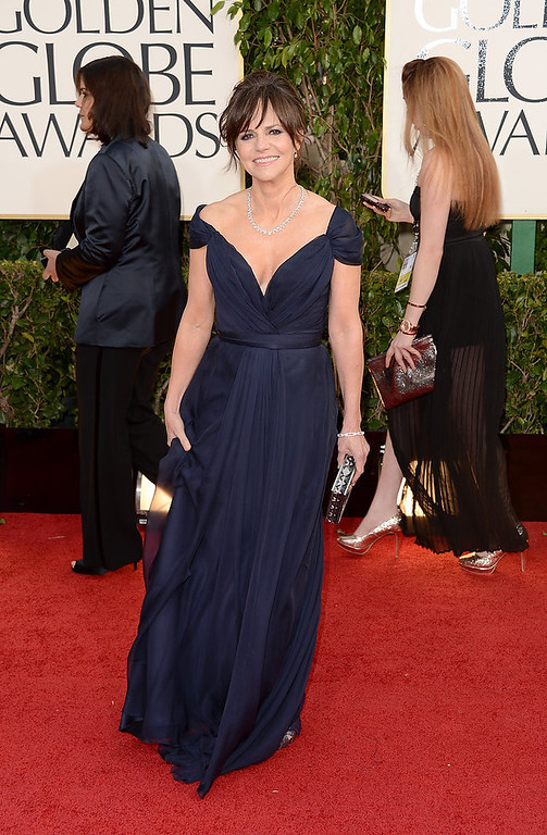 . Actress Sally Field arrives at the 70th Annual Golden Globe Awards held at The Beverly Hilton Hotel on January 13, 2013 in Beverly Hills, California.  (Photo by Jason Merritt/Getty Images)