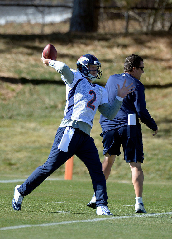 . Denver Broncos quarterback Zac Dysert (2) throws a pass during practice November 20, 2013 at Dove Valley (Photo by John Leyba/The Denver Post)